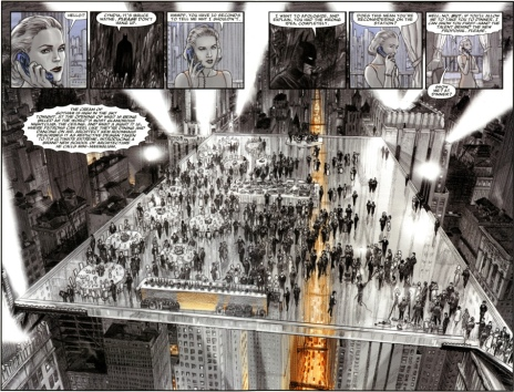 The glass floored club in Batman: Death by Design by Chip Kidd and artist David Taylor.
